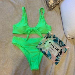SHEIN neon green knot bikini